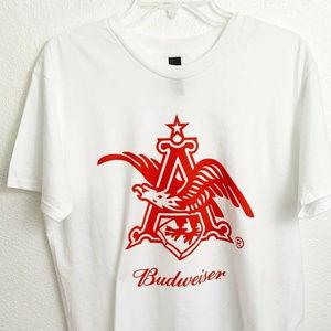 Hanes Unisex Budweiser Graphic Tee Shirt White